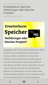 Der neue Immersive Mode, zB in der Press-App