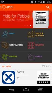 Der neue Appstore für die Pebble Smartwatch
