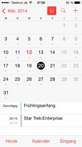 Im Kalender ist endlich die Vorschau zurück