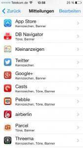 Die Pebble zeigt alle Benachrichtigungen an, die in iOS eingestellt sind