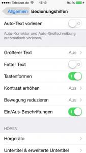Texte, die auch Schalter sind, können hervorgehoben werden