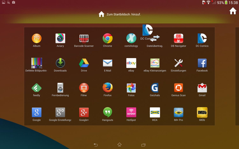 Apps müssen mühlselig auf den Homescreen geschoben werden