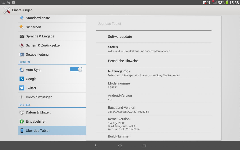 Derzeit läuft das Tablet Z mit Android Version 4.3, aber Version 4.4 ist bereits angekündigt