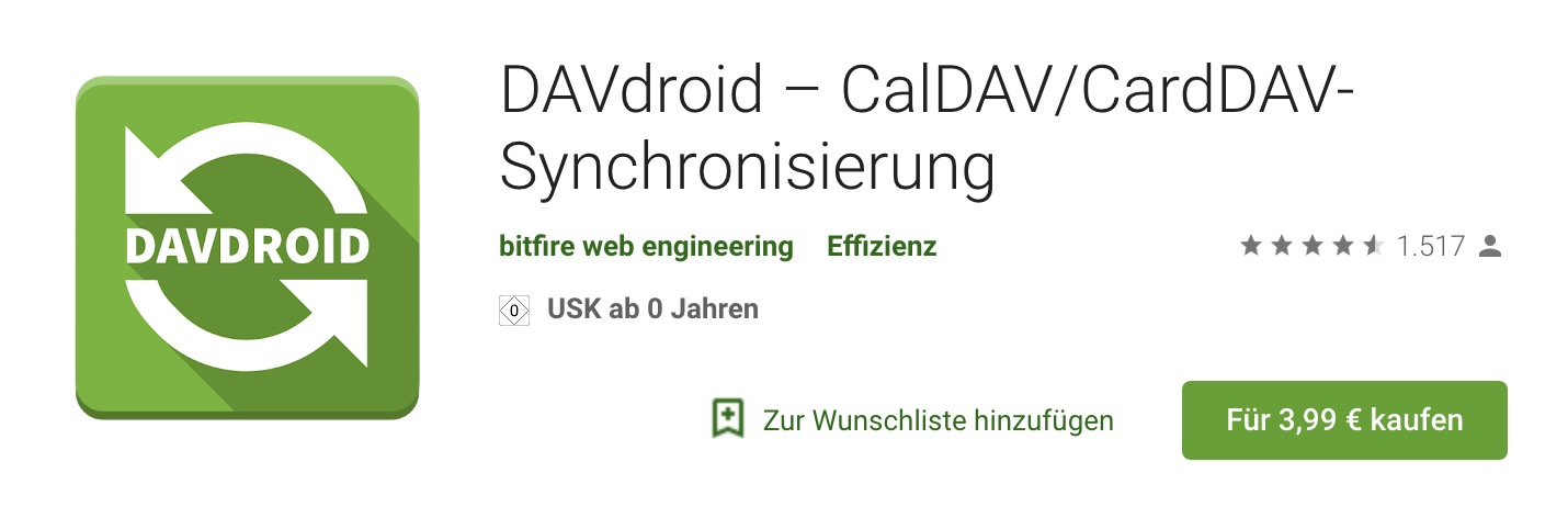 DAVdroid (Google Play Store)